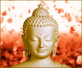 Buddha-Statue-With-Rose-Petals-In-Background